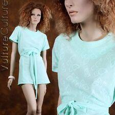 REAL Vintage 60s Hippie Dress Aqua BUTTERFLY Sheer Boho Mod Mini Belt XL/XXL