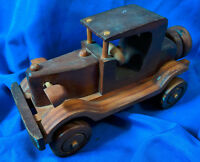 "Custom Handmade Wooden Model Antique Car VTG Carved 10"" HO Toy Rare Open Door"