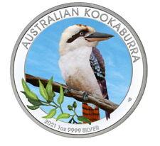 Australien Kookaburra 2021 Farbe 1 oz 999 Silbermünze mit Zertifikat Feinsilber
