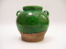 Antique Small Two Handle Green Drip Glaze Chinese Pot Song Dynasty