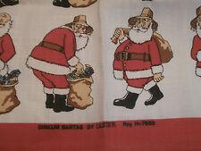 Dinkum Santas By Ulster Irish Linen Towel Unused   with 20 Santa Figures