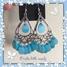 Aqua Blue Dangle Earrings Madreperla Shell perline tibetano argento vendita!!!