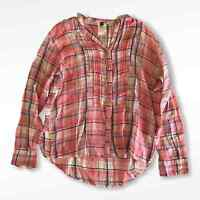 Free People FP One One Plaid Long Sleeve Button Down Top Womens Size Xsmall