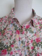 Bluse Hemdbluse STRADIVARIUS M ca 34 36 langarm Blumen pink grün TIP TOP /U3