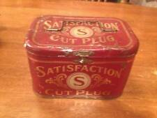 HTF VINTAGE SATISFACTION CUT PLUG BURLEY TOBACCO COM., FACTORY #2, LUNCHPALE TIN