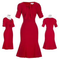 Retro Vintage 50s 40s Business Office Pinup Pencil Wiggle Evening Party Dress