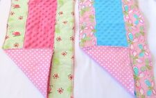 Burp Cloths Baby Girl Premium Layered Handmade Minky And Flannel Set Of 2 New