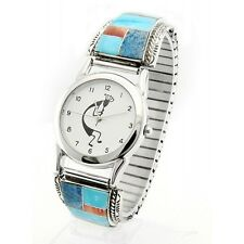 Native American Sterling Silver Mens Inlay Watch with Kokopelli