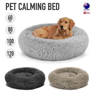 Pet Calming Bed Fluffy Warm Cozy Soft Dog Cat Puppy Round Donut Cuddle Nest S-XL
