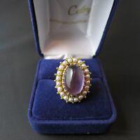 Bague or jaune améthyste et perles