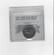 **2004 Poppy Test Token**Coin Mart Graded Canadian, 25 Cent,**MS-66 NBU**
