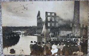 1905 Burnley Weaving Mill Fire Disaster Photographic Postcard Lancashire Weaver