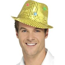 Women's Men's Gold Light Up Sequin Trilby Fancy Dress Hat Hen Stag LGBT Fun