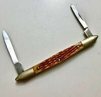 Vintage GENTLEMAN'S THIN POCKET PEN Knife  --  Bone Stag Handles in Mint Cond.