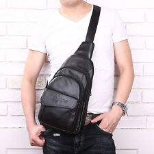 Mens Sling Chest Bag Genuine Leather Travel Hiking Messenger Shoulder Pack Pouch