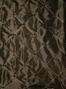 Luxury Drapery Lined Curtain Panel Brown Taffeta Diamond Embroidery 54 X 85