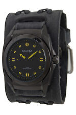 Nemesis Black/Green Eternity Men's Watch, Faded Black X Leather Band, DFXB081G