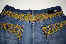 Ecko Unltd 1972 Baggy Fit Gold/Yellow Embroidery Embellished Jeans Size 40x33