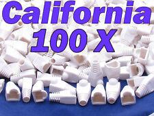 Lot 100 X Pcs White Plug End Cap Boot Cable Cat5 Cat5E Cat6 Rj45 8P8C Connector