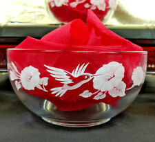 Hummingbird Crystal Bowl 4 Avon Collection Etched Frosted Glass Soup Cereal Vtg