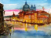 Venice City Landscape Painting - Watercolor Poster Art Print FREE FAST SHIPPING