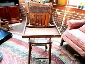 Vintage Solid Wood Baby/Child Pressed Back High Chair Caned Seat Tray (as is)