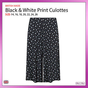 New Ladies Pull On Black & White Print Jersey Culottes Standard Plus Sizes 14-26