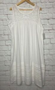 XL/1X/2X New Rachel Ashwell Shabby Chic White Cotton Eyelet Lace Nightgown