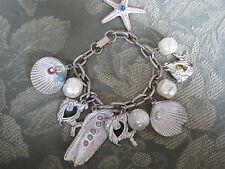 VINTAGE 1960 SHELL,PEARL,STARFISH,ANGEL FISH, OYSTER SHELL  CHARM BRACELET