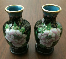 SET of 2 Chinese Copper Bronze Brass Enamel Peony Cloisonne Vase with Wood Stand
