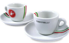 2 x Castelli Cycling Espresso Coffee Cups Saucers Exclusive Cafe Italian Stripes