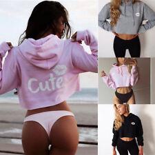 UK Women's Long Sleeve Hoodie Sweatshirt Jumper Sweater Crop Top Pullover TY