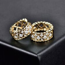 White Bling Rhinestone Crystal Women Hoop Fit Charm Brilliant Wedding Earrings