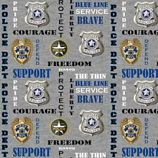 Police Bravery Courage Protect Serve Sykel Heather Print Fabric-$9.99/yard