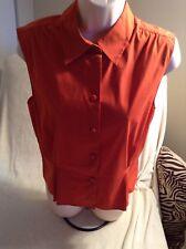 Wonderful 100% Authentic Prada Orange Sleeveless Blouse Size 46