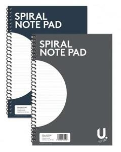 2x A4 Spiral Notebook Note Pad Wired Lined Ruled Paper Jotter Journal 80 Pages