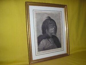 gravure originale femme de l'entrée du Prince Guillaume voyage Capitaine Cook