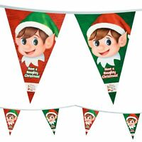 20ft Naughty Elf Design Triangular Bunting Flags Green Red Christmas Decoration