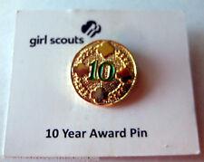 Girl Scout 10 TEN YEAR PIN Membership Uniform Sash Award NEW Leader Mom Gift!