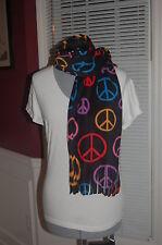 Peace Symbols Signs Rainbow Black Print Fleece Scarf Groovy