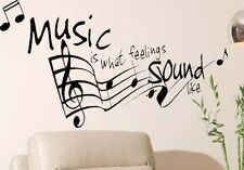 """""""MUSIC is what Feelings Sound Like"""" Musical Notes Vinyl Wall Decal Art Kids Room"""