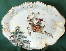 """Williams Sonoma Twas The Night Christmas Scalloped Oval Reindeer Platter 19"""""""