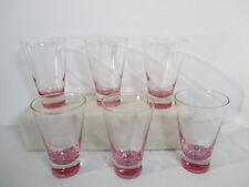 Glasses Tumblers Lavender Pink Cocktail Juice Vintage Set of 6 Heavy Bottoms