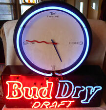 1991 Bud Dry Draft Beer Neon Clock Sign Blue Red Lights Works Nice