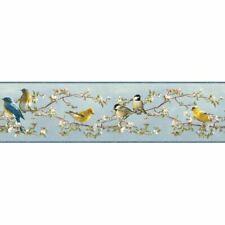 CHESAPEAKE HTM48511B LOUISE BLUE SONGBIRD PORTRAIT WALLPAPER BORDER