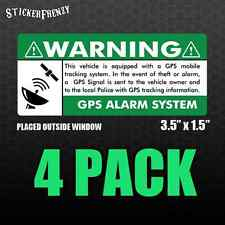GPS 4 pk 3.5x1.5 - GREEN - Anti Theft STICKERS Vehicle Security Alarm Decal Car