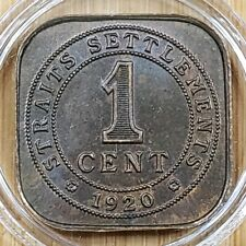 1920 Straits Settlements 1 Cent BRONZE Coin - George V  with capsule
