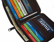 Men's Genuine Leather Bifold Zipper Wallet Slim Hipster Goat Credit Card Euro