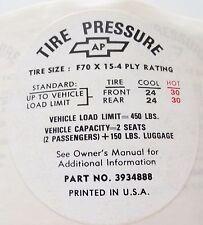 NOS 1968-1972 CORVETTE GLOVE BOX TIRE PRESSURE DECAL, OLDER STYLE CHECK THE PICS