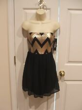 NWT my michelle  BLACK CHIFFON STRAPLES PARTY PROM HOLIDAY FORMAL DRESS SiZe 7